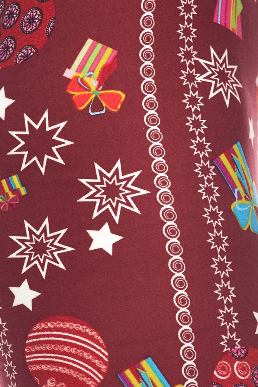 Close up swatch of Buttery Soft Burgundy Christmas Ornaments Kids Leggings