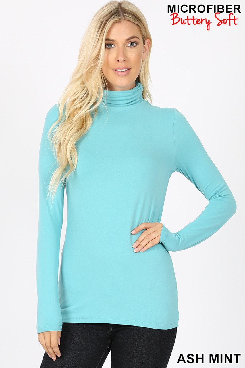Front view of Ash Mint Brushed Microfiber Mock Neck Top