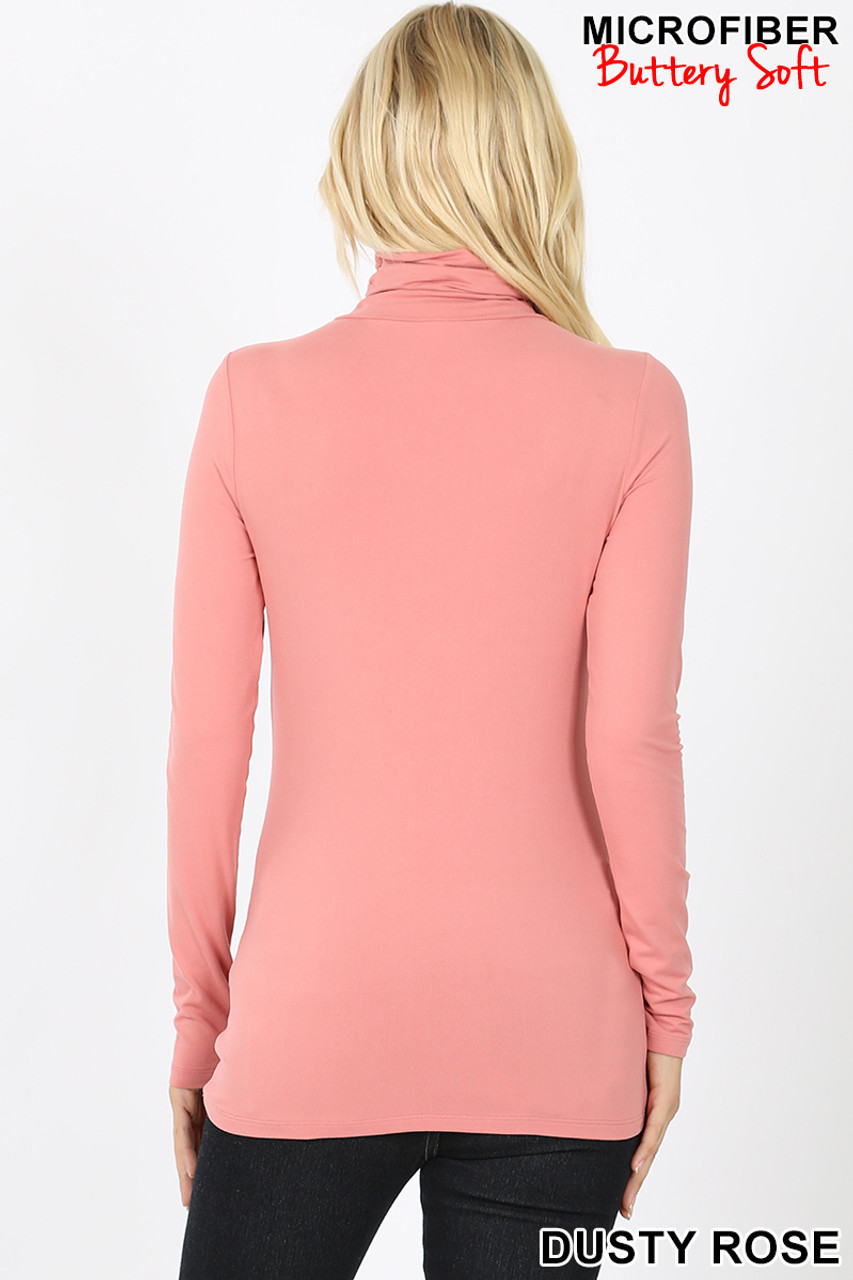 Back view of dusty rose Brushed Microfiber Mock Neck Top