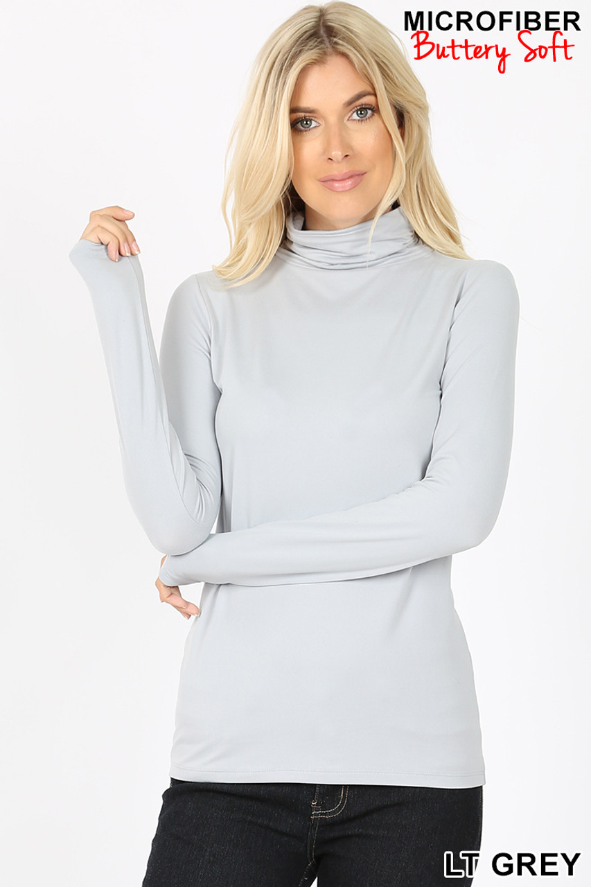 Front view of light grey Brushed Microfiber Mock Neck Top