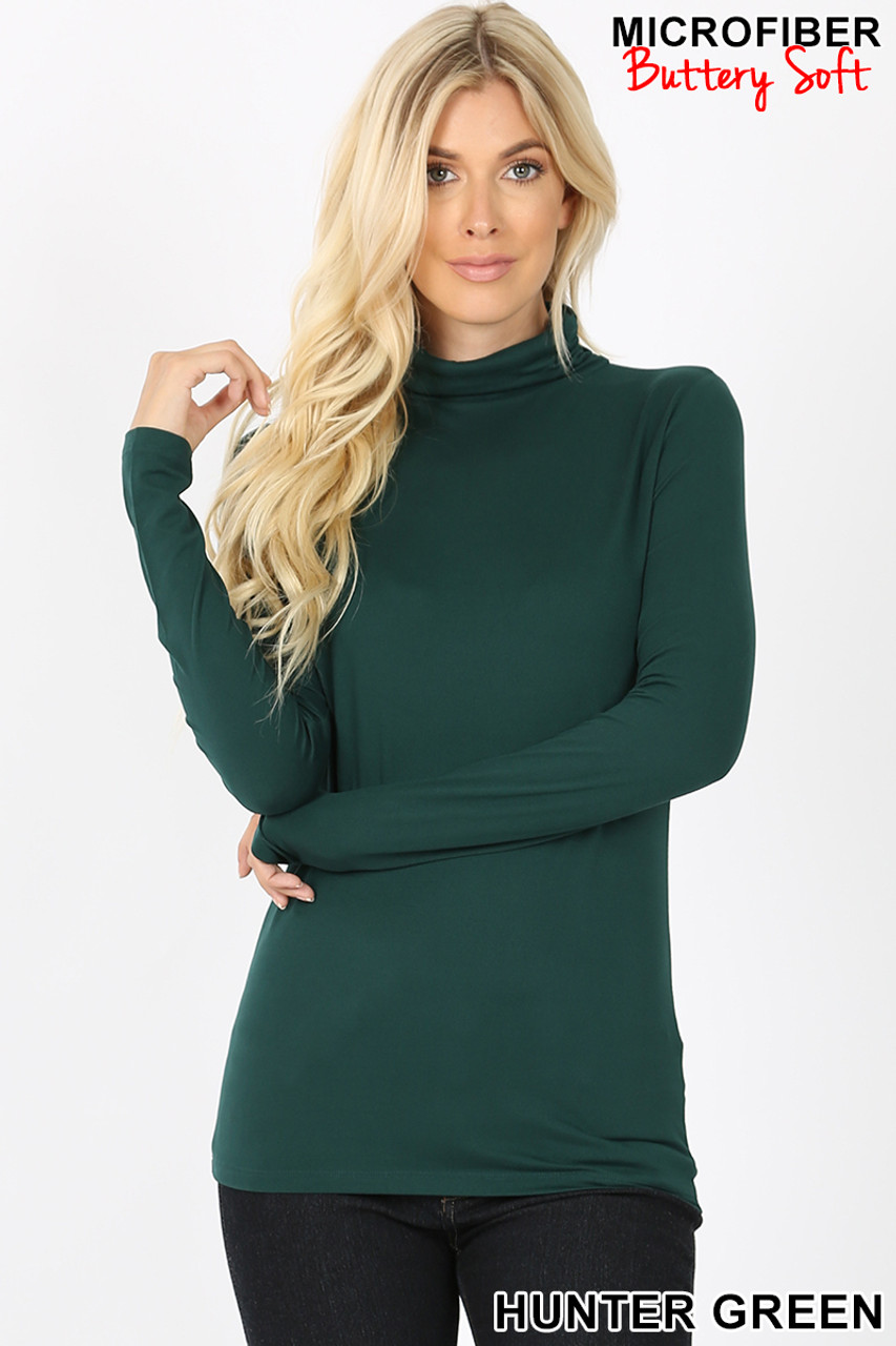 Front view of hunter green Brushed Microfiber Mock Neck Top