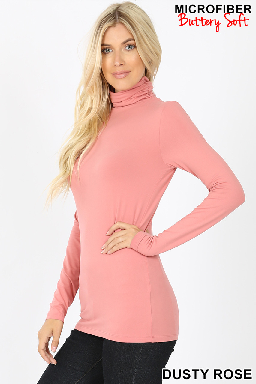 Partial front/rift side view of dusty rose Brushed Microfiber Mock Neck Top