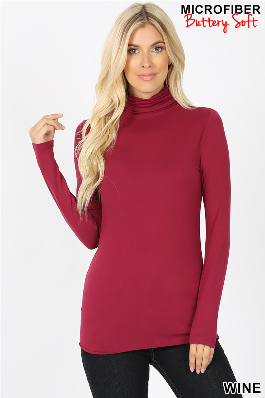 Front view of wine Brushed Microfiber Mock Neck Top
