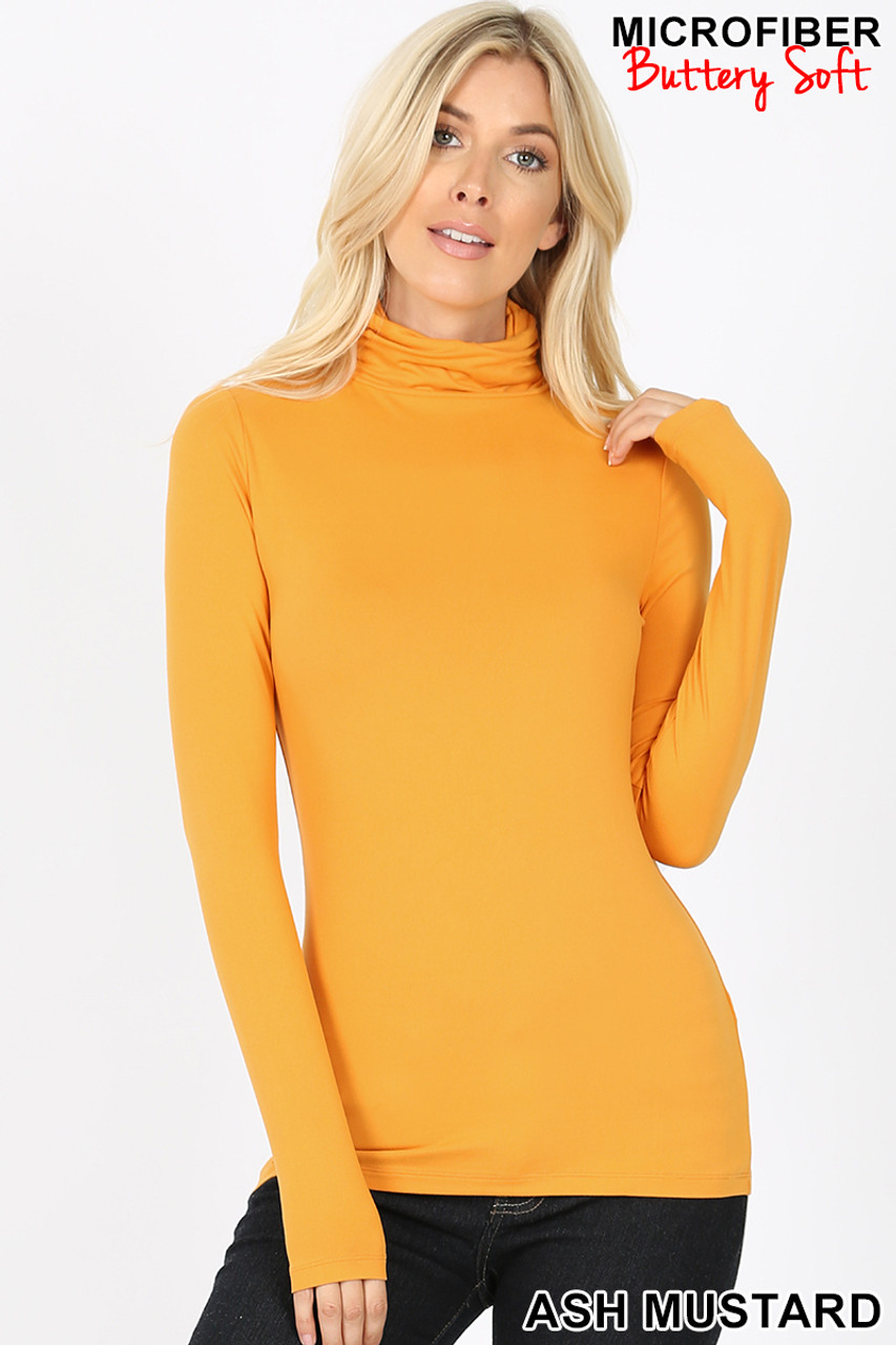 Front view of ash mustard Brushed Microfiber Mock Neck Top