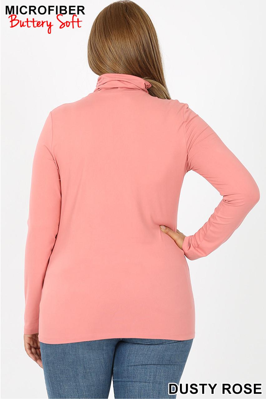 Back of Dusty Rose Brushed Microfiber Mock Neck Plus Size Top