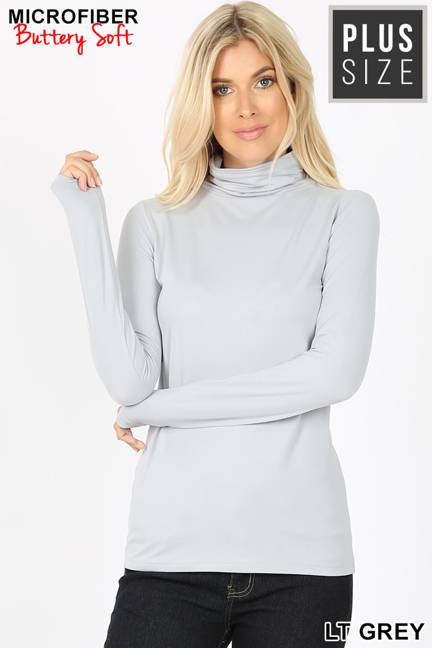 Front view of light gray Brushed Microfiber Mock Neck Plus Size Top