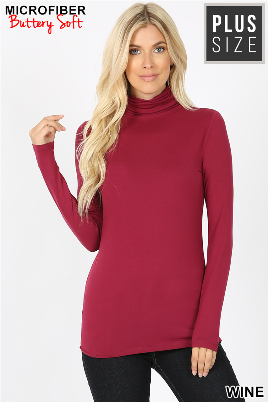 Front view of wine Brushed Microfiber Mock Neck Plus Size Top