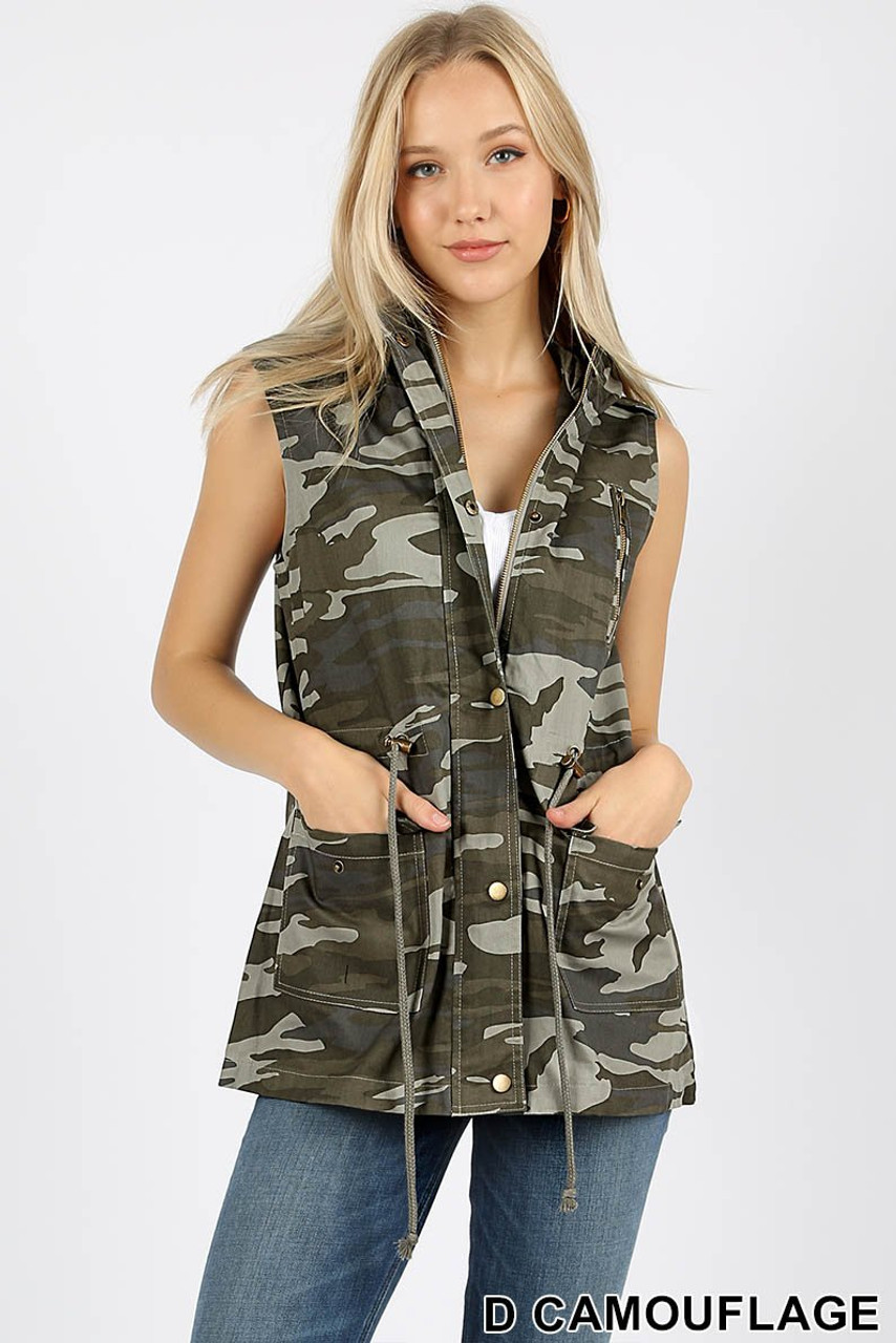 Front view of Camouflage Drawstring Waist Military Hoodie Vest with Pockets featuring a classic amy print design in an olive color scheme.
