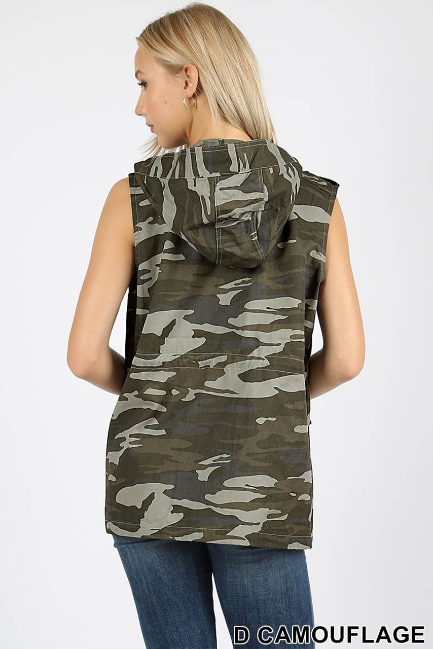 Back view of Camouflage Drawstring Waist Military Hoodie Vest with Pockets showcasing the hood.
