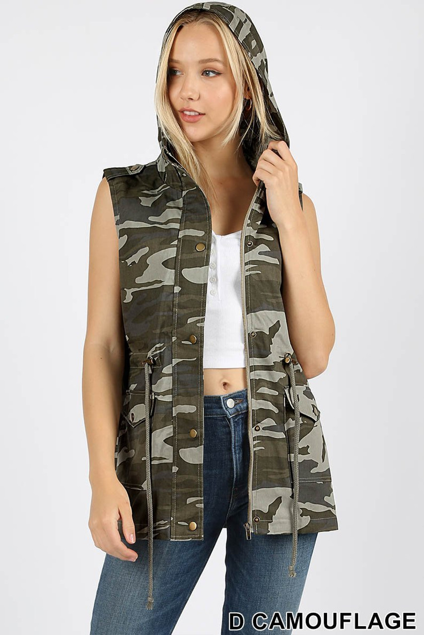 Front view of Camouflage Drawstring Waist Military Hoodie Vest with Pockets ideal for layering or wearing on its own.