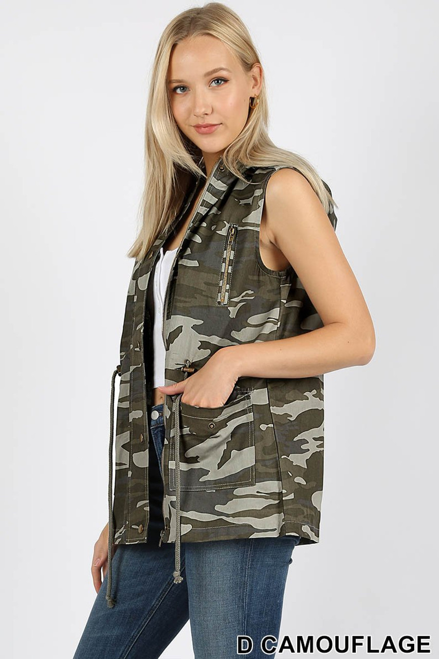 Left side view of Camouflage Drawstring Waist Military Hoodie Vest showing off the functional convenient pockets.