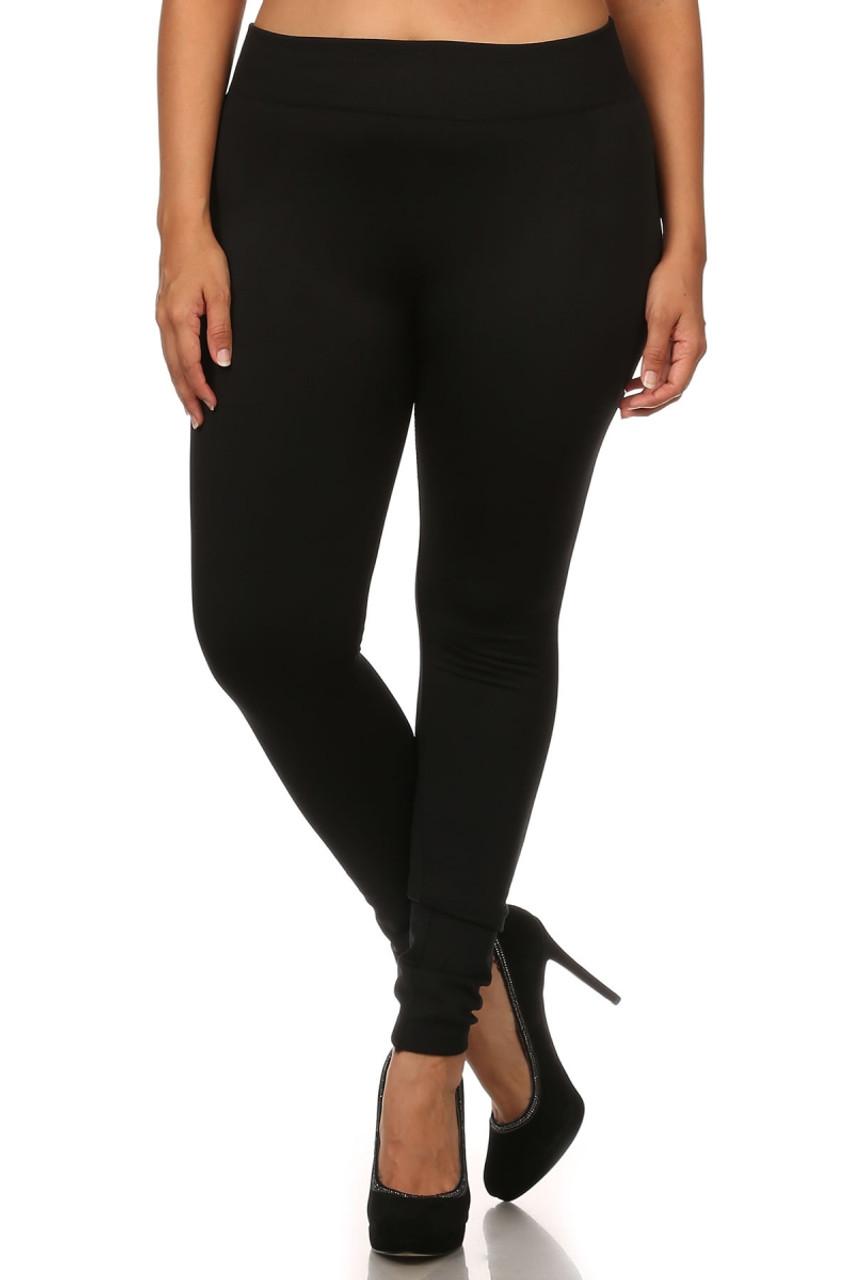 Front image of Black Premium Women's Fleece Lined Plus Size Leggings
