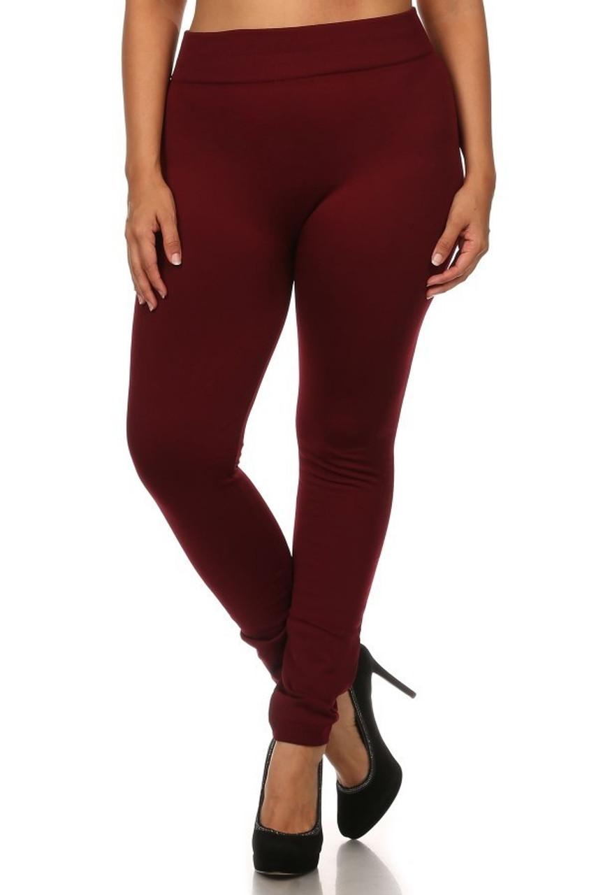 Front image of Burgundy Premium Women's Fleece Lined Plus Size Leggings