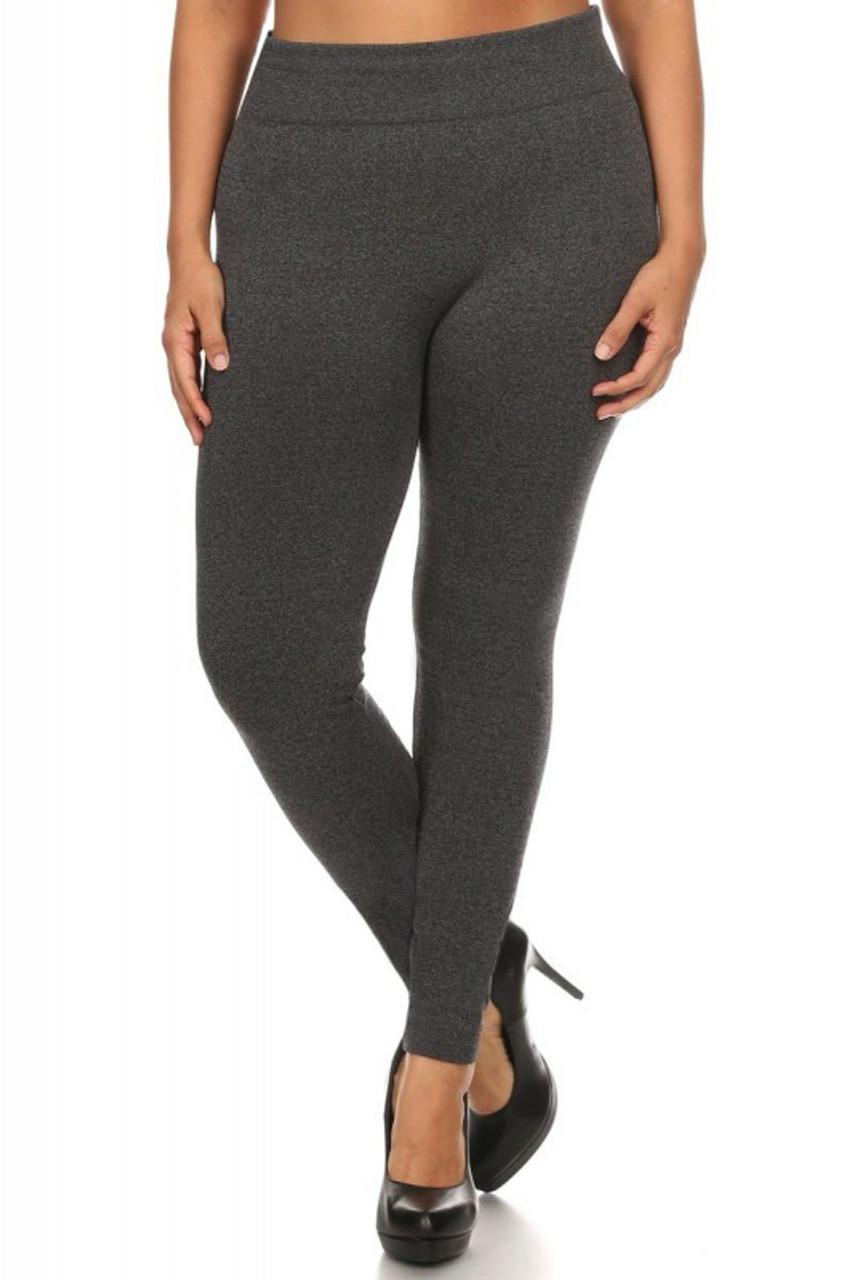Front image of Charcoal Premium Women's Fleece Lined Plus Size Leggings