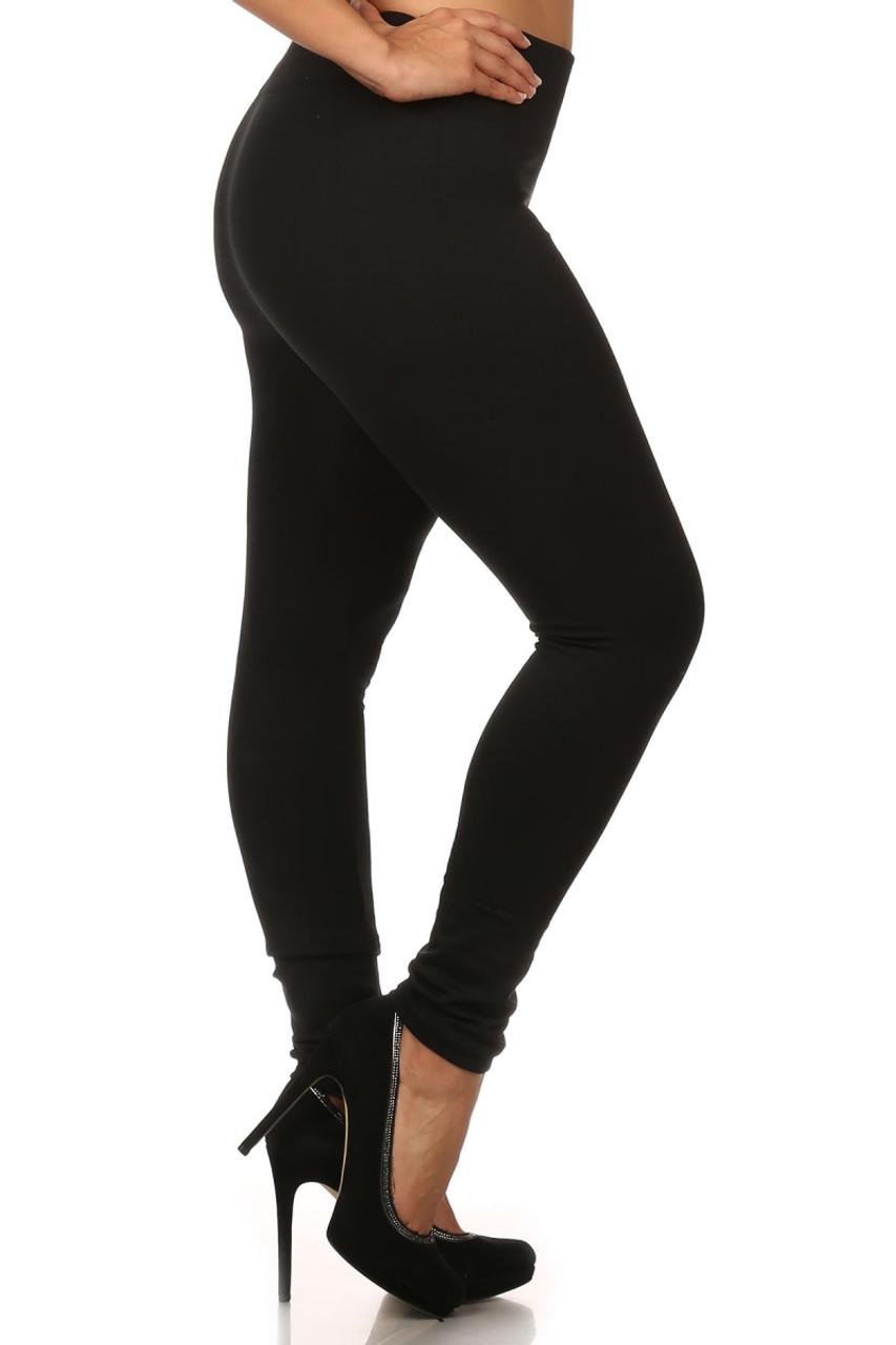 Right Side Image of Black Premium Women's Fleece Lined Plus Size Leggings