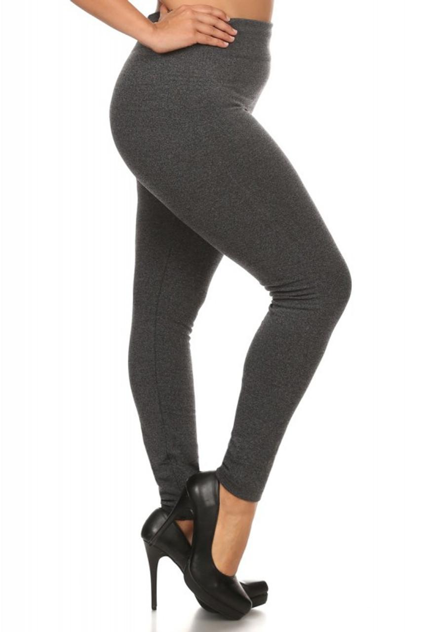 Right Side Image of Charcoal Premium Women's Fleece Lined Plus Size Leggings