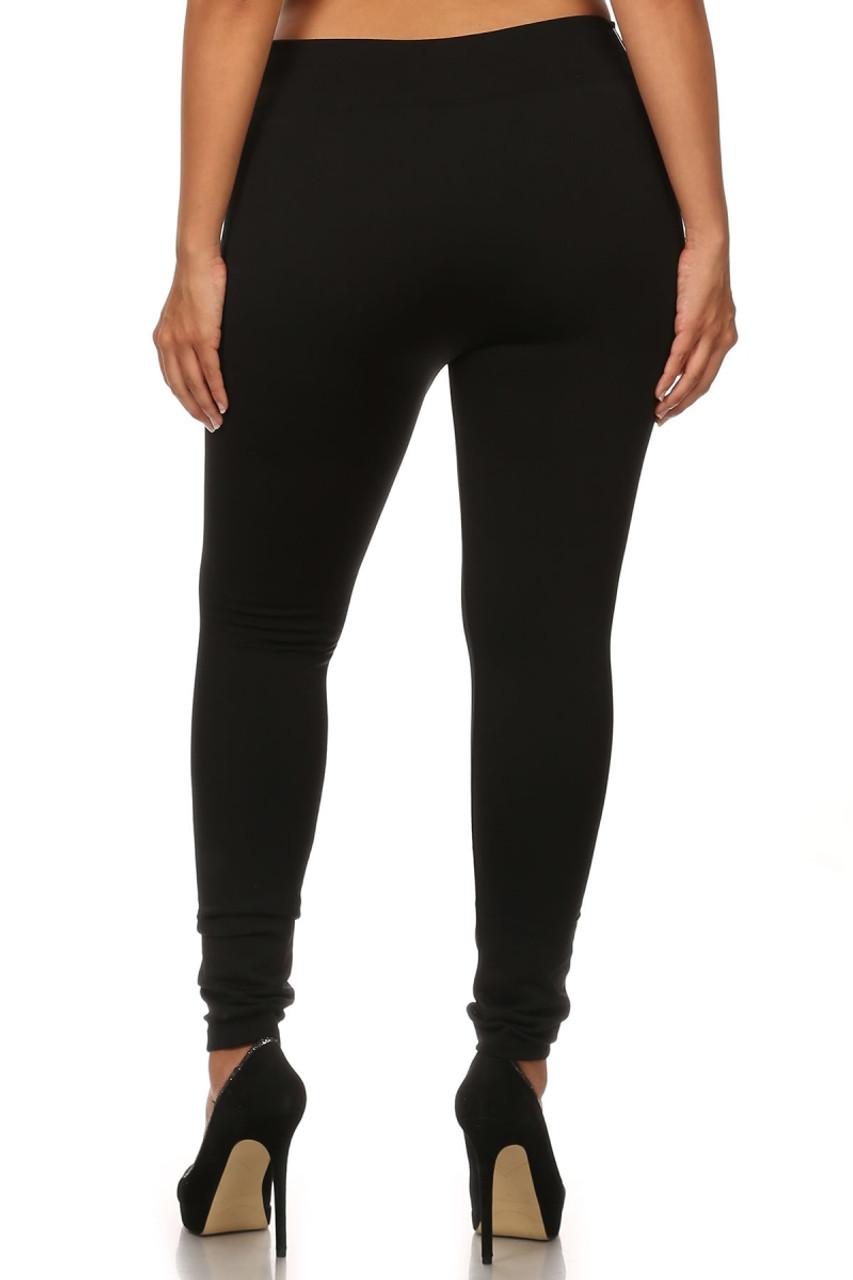 Back image of black Premium Women's Fleece Lined Plus Size Leggings