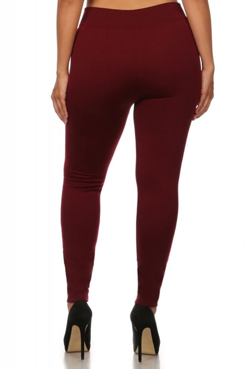Back image of burgundy Premium Women's Fleece Lined Plus Size Leggings