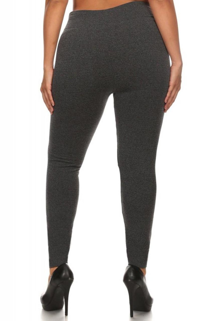 Back image of charcoal Premium Women's Fleece Lined Plus Size Leggings