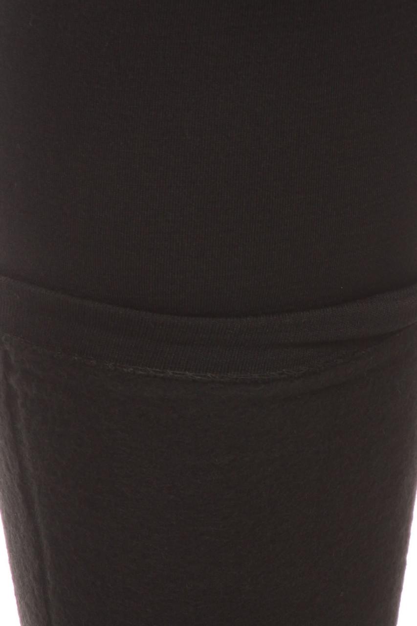 Close-up fabric image of  charcoal Premium Women's Fleece Lined Plus Size Leggings