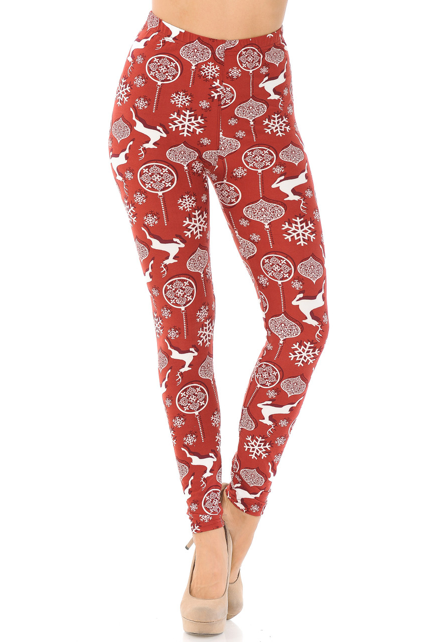 Our mid rise Buttery Soft Jumping Christmas Reindeer Leggings feature a comfort stretch elastic waistband.