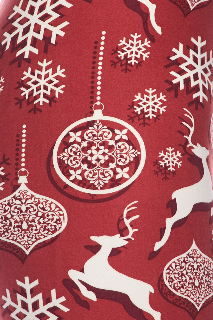 Close up swatch image of Buttery Soft Jumping Christmas Reindeer Leggings