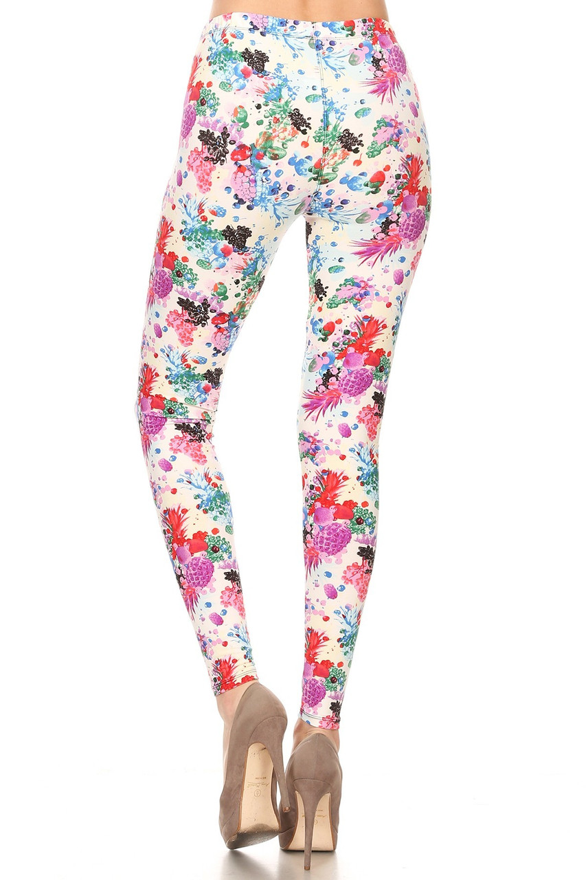 Back view of our figure hugging Buttery Soft Ivory Fruit Bunch Plus Size Leggings featuring a design that is perfect for Spring and Summer