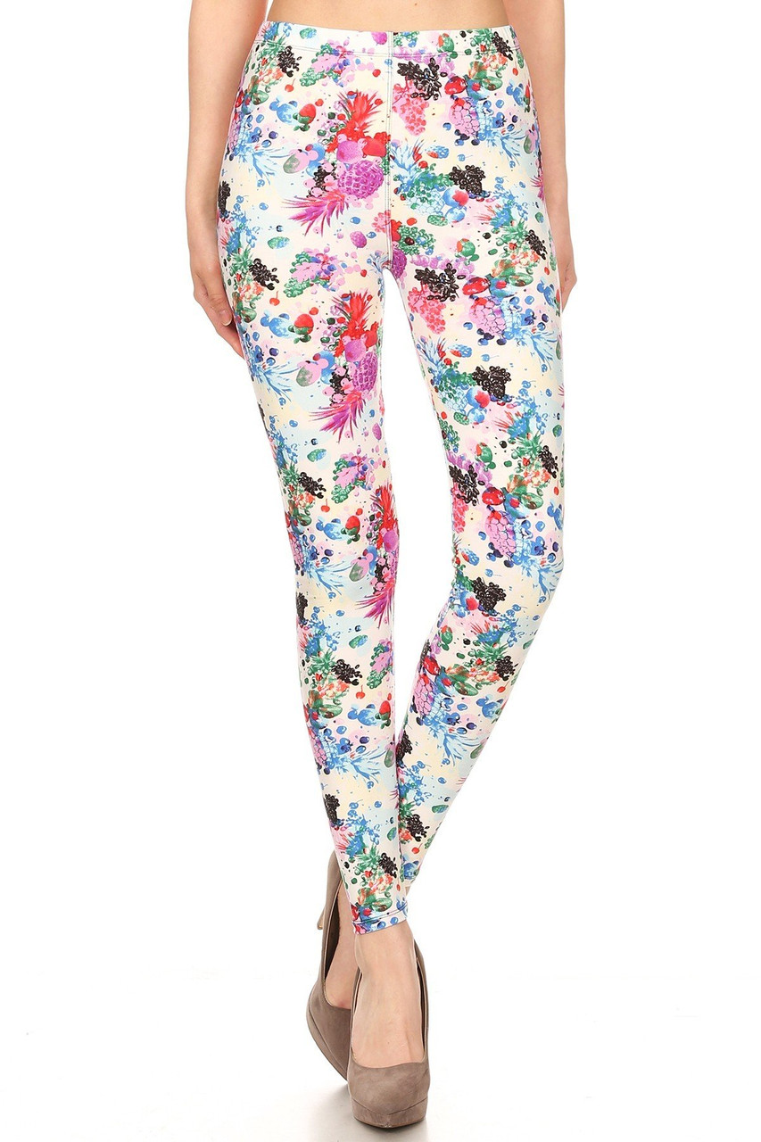 Front view image of Buttery Soft Ivory Fruit Bunch Plus Size Leggings with a full length skinny leg cut.
