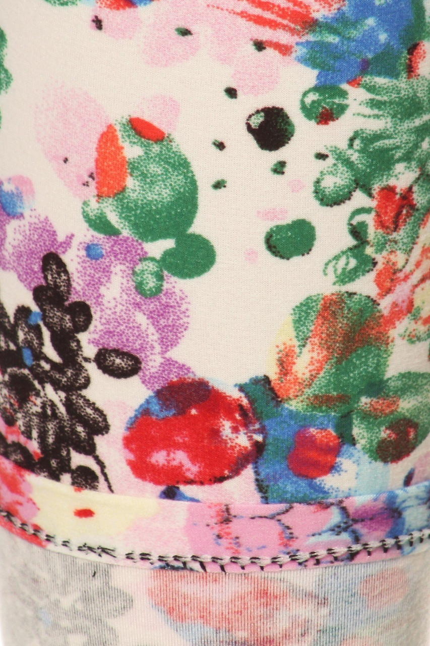 Close up swatch of Buttery Soft Ivory Fruit Bunch Extra Plus Size Leggings - 3X-5X