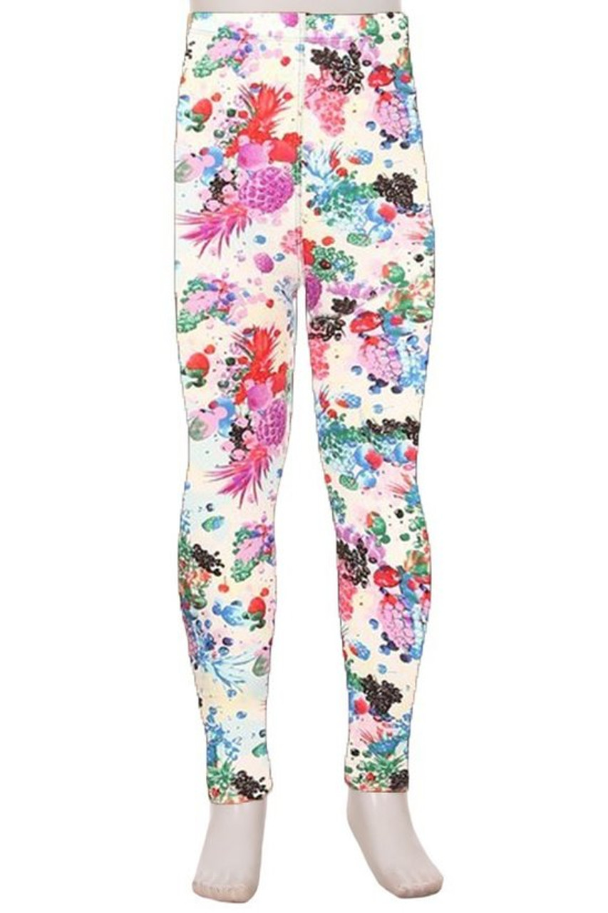 Front view image of Buttery Soft Ivory Fruit Bunch Kids Leggings featuring a colorful print of abstract style pineapples and grapes, atop a white background.