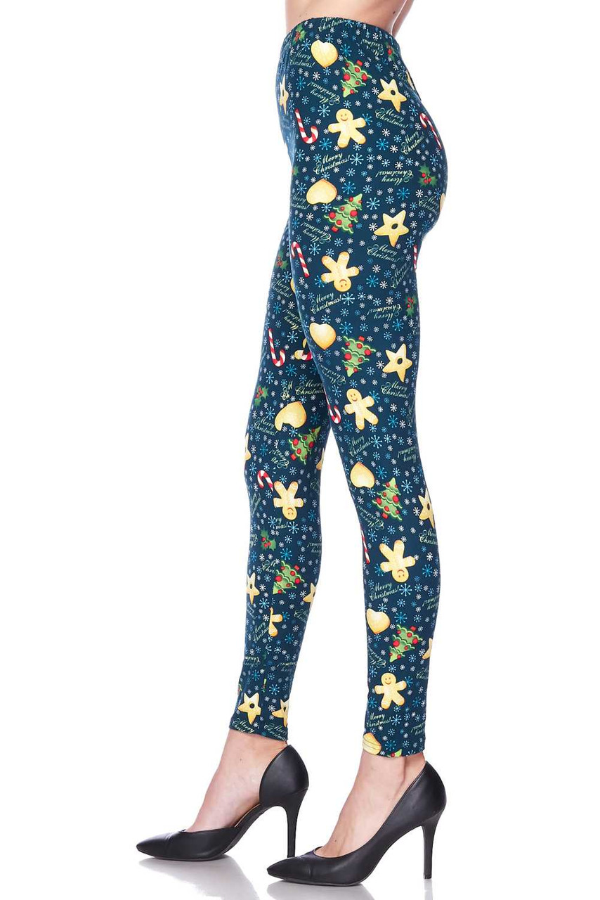 Left side leg image view of Buttery Soft A Very Merry Christmas Leggings
