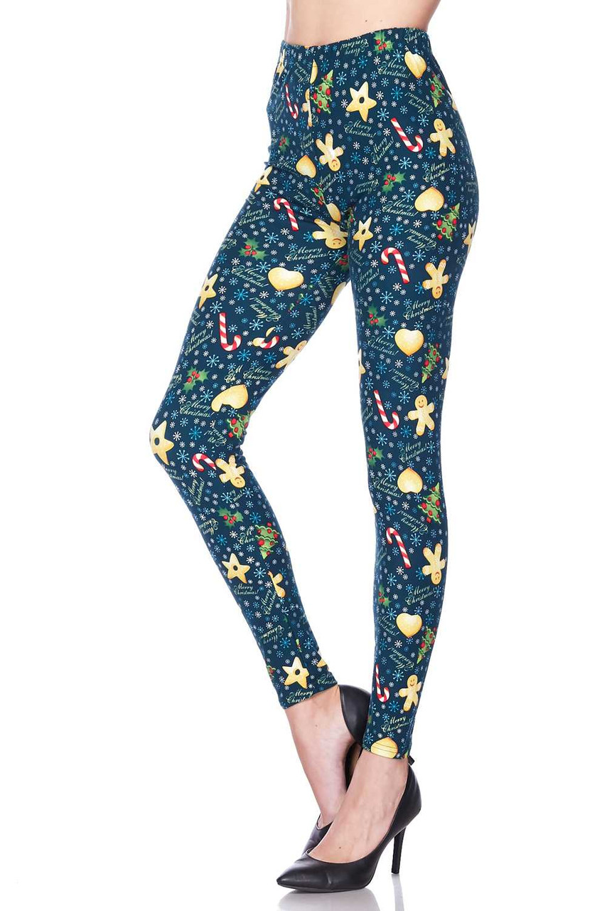 Left image view of Buttery Soft A Very Merry Christmas Plus Size Leggings featuring a full length skinny leg cut.