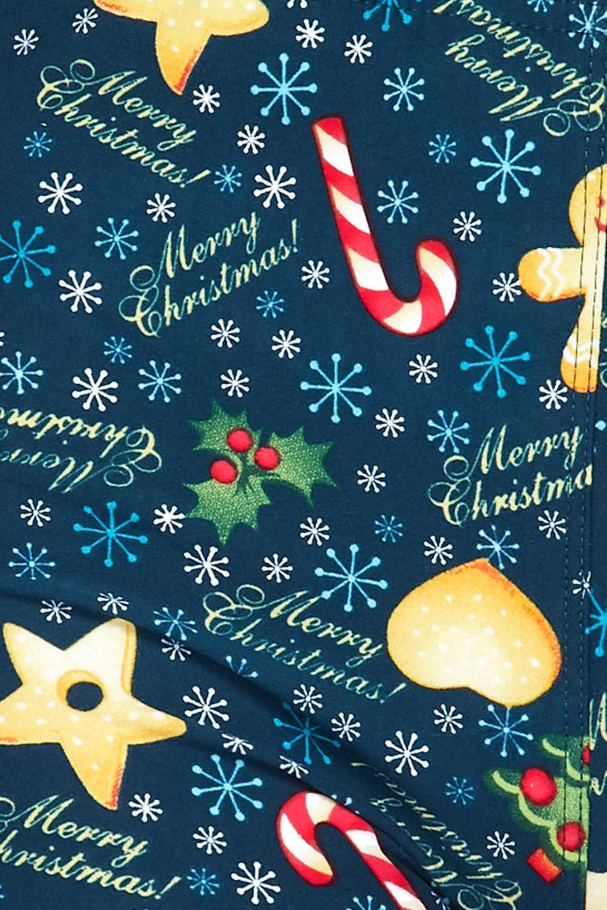 Close up swatch of Buttery Soft A Very Merry Christmas Plus Size Leggings