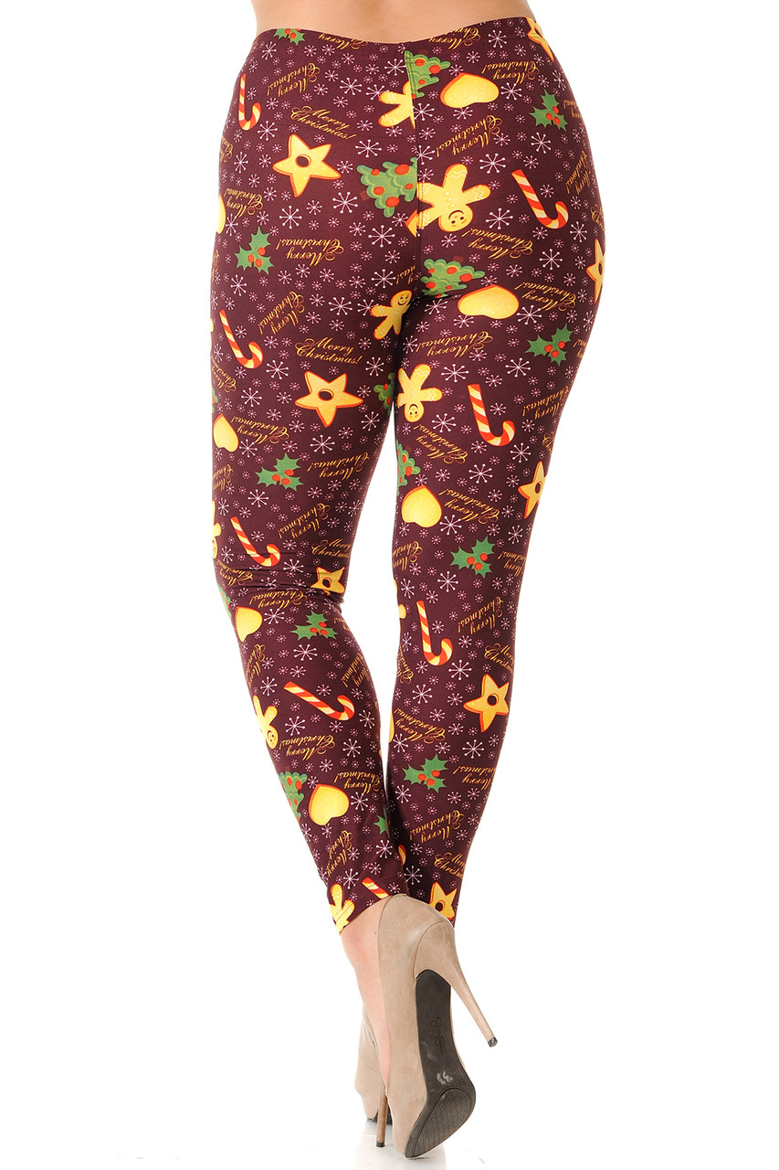 Back view image showcasing the body hugging fit of Buttery Soft Merry Christmas Treats and Cookies Plus Size Leggings