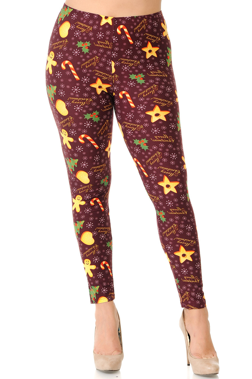 Front view of full length skinny leg cut Buttery Soft Merry Christmas Treats and Cookies Plus Size Leggings