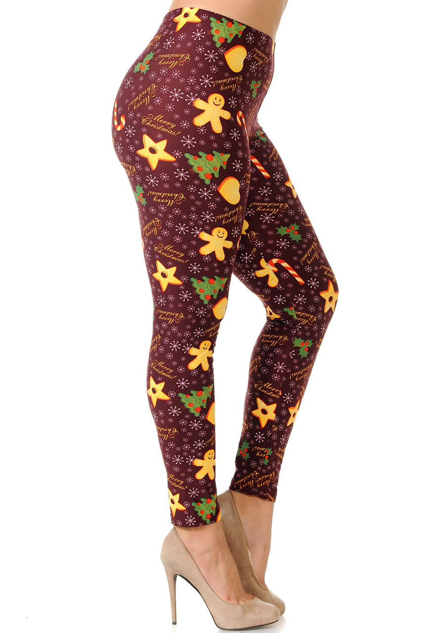 Right side leg image view of Buttery Soft Merry Christmas Treats and Cookies Plus Size Leggings.