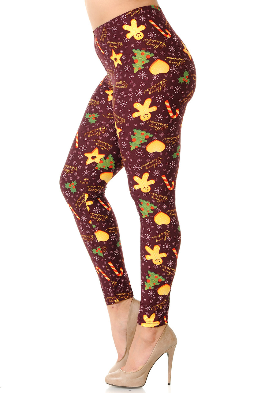 Left side leg image view of Buttery Soft Merry Christmas Treats and Cookies Plus Size Leggings.