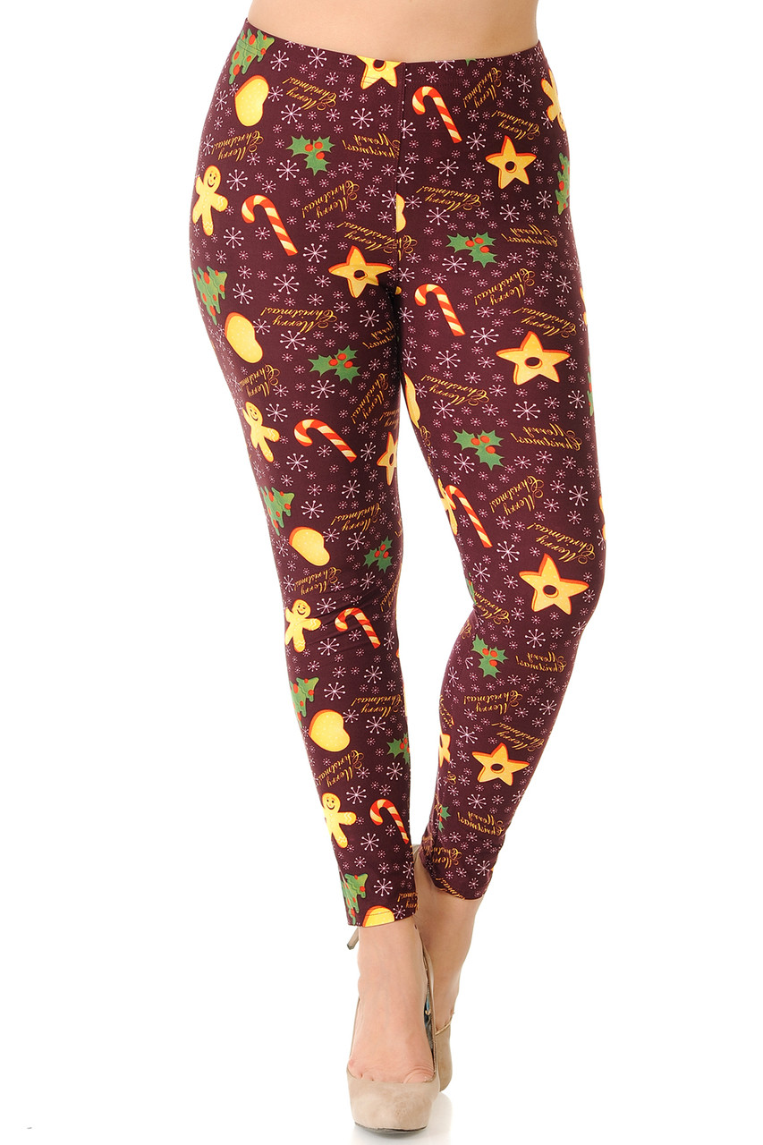 Front view of Buttery Soft Merry Christmas Treats and Cookies Plus Size Leggings featuring a stretchy elastic waistband that comes up to about mid rise.