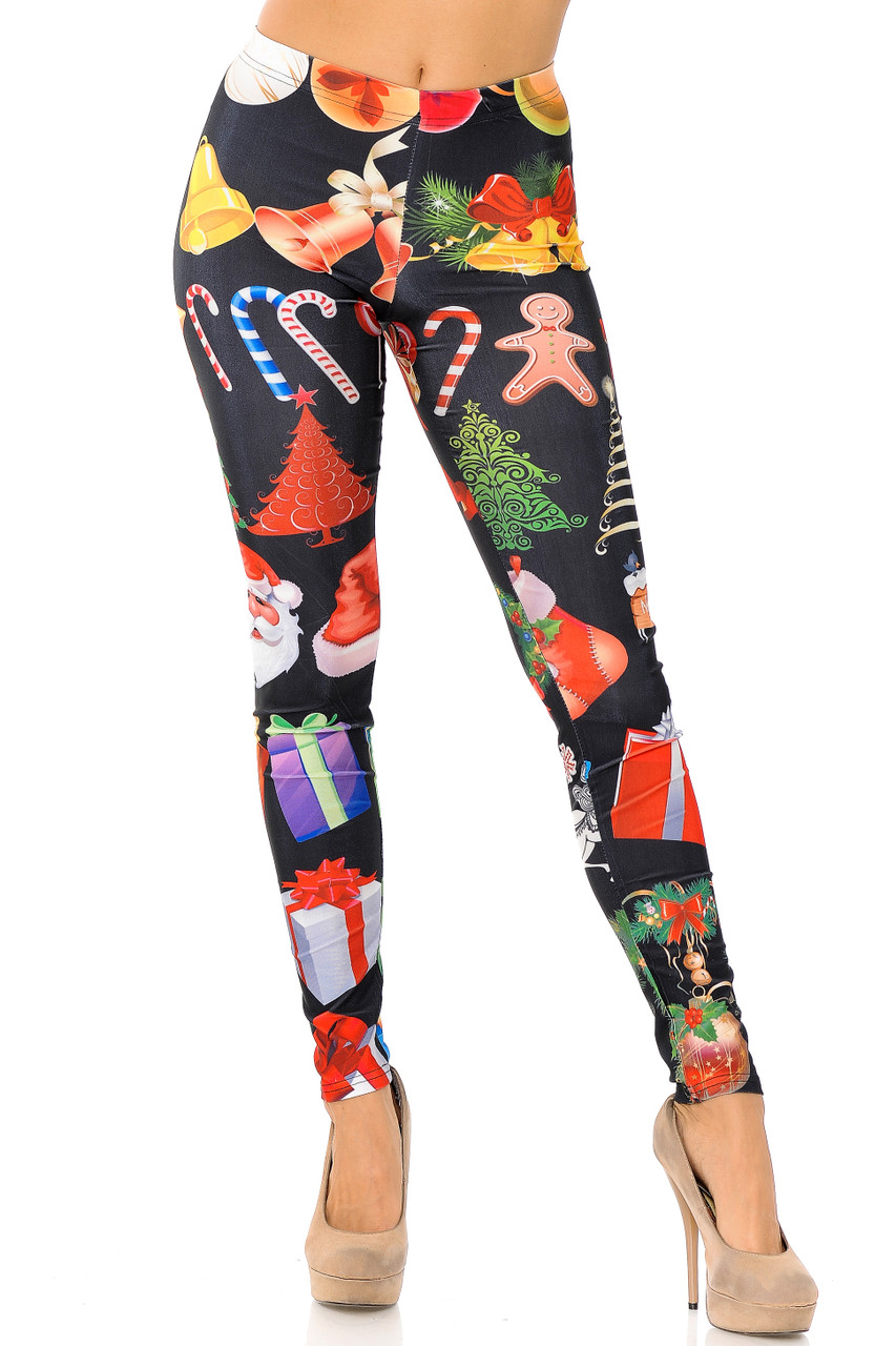 Front view image of full length skinny leg cut Everything Christmas Leggings with an eye-catching design.