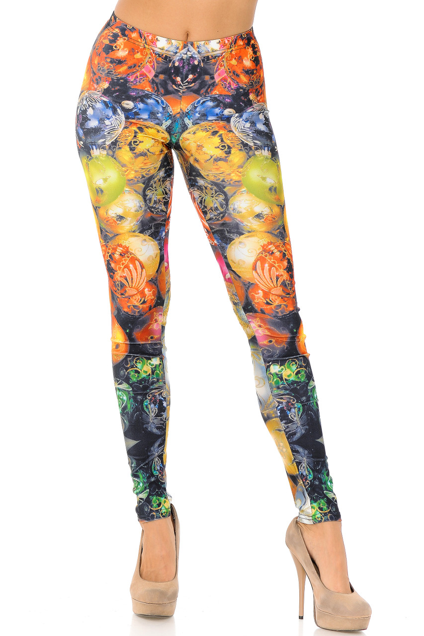 Front view image of Gorgeous Christmas Ornament Leggings  with a full length skinny leg cut.