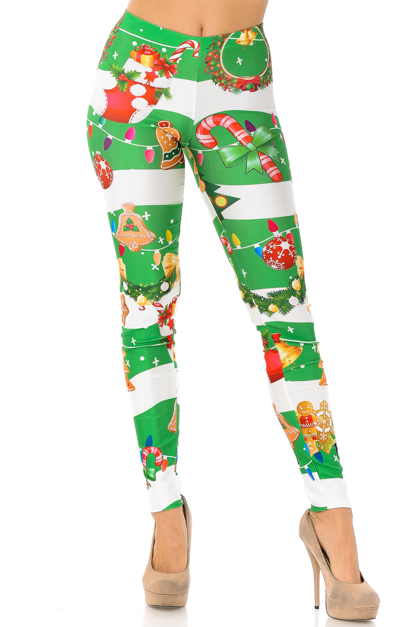 Front view of our vibrant full length Holiday Festive Green Christmas Garland Wrap Leggings with a skinny leg cut.