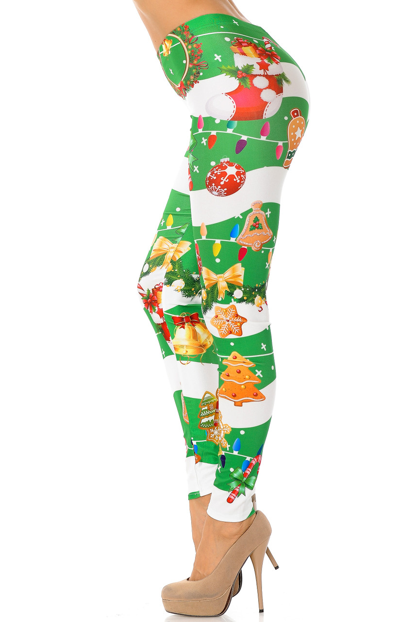 Left side view of Holiday Festive Green Christmas Garland Wrap Leggings
