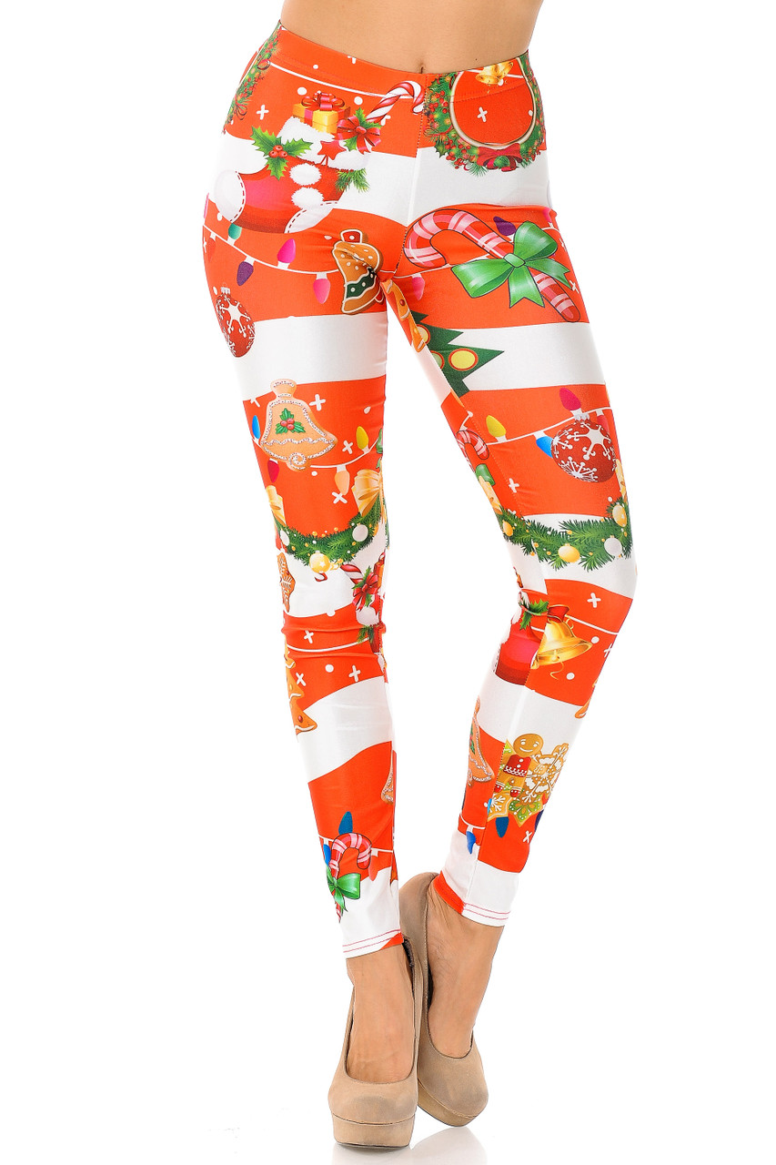 Front view of Holiday Festive Red Christmas Garland Wrap Leggings with an elastic comfort stretch waistband that comes up to about mid rise.