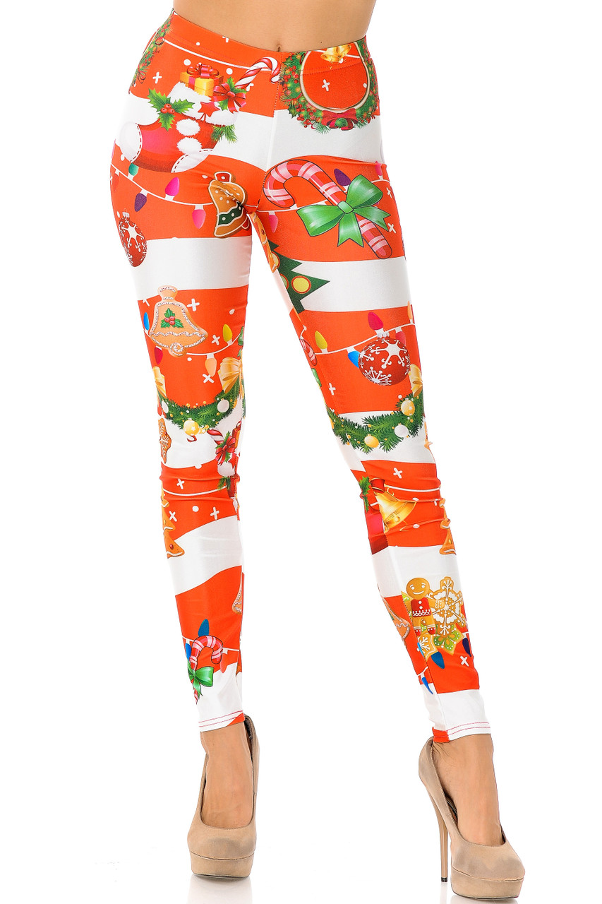 Front view of our vibrant full length Holiday Festive Red Christmas Garland Wrap Leggings with a skinny leg cut.