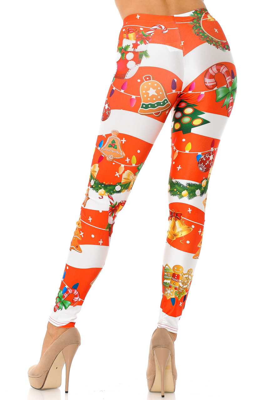 Back view of our ultra figure flattering body fitted Holiday Festive Red Christmas Garland Wrap Leggings