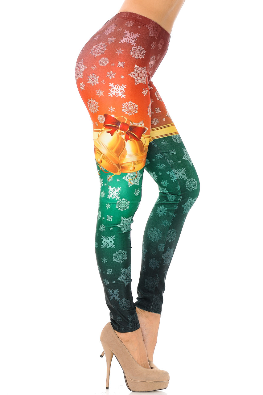 Right side view image of Festive Red and Green Split Christmas Bells Leggings