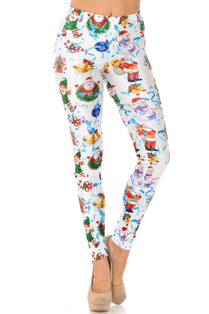 Front view of White Wonderful Festive Christmas Leggings with an elastic waist that comes up to about mid rise.