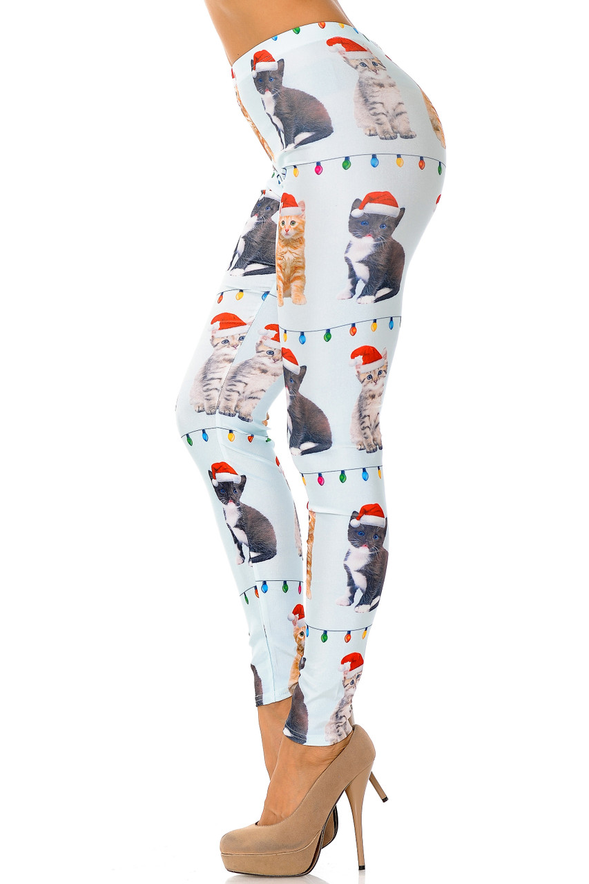 Left side view image of Cats in Hats Christmas Leggings