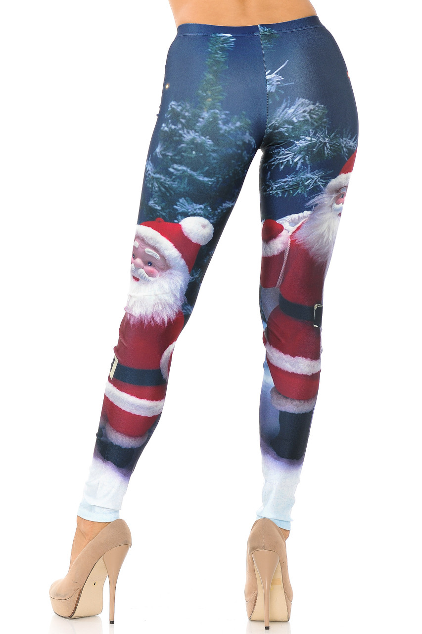 Back view image of figure flattering fitted Front Santa Claus Leggings