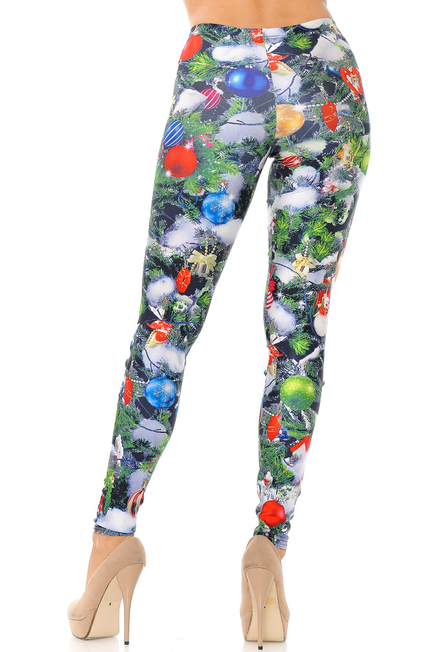 Back view image of Trimmed Up Christmas Tree Plus Size Leggings with a figure flattering fit.